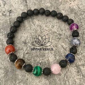 Chakra Stretch Bracelet - Gemstones & Lava Rocks
